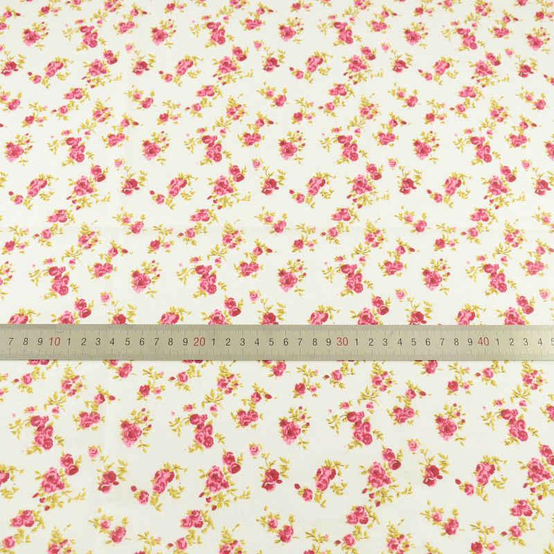 100% de algodón con diseño de flores rojas y rosadas, tela de costura para muñecas DIY, ropa de cuarto grueso, Tildas CM
