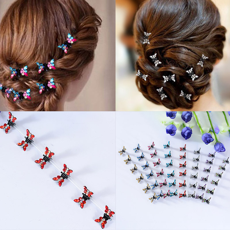 12pcs/pack Crystal Rhinestone Butterfly Hair Claw Hairpins Hair Accessories Ornaments Hair Clips Hairgrip Barrette For Kids Girl