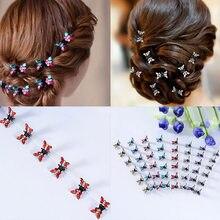 Épingles à cheveux papillon cristal strass, 12 pièces/paquet, pinces à cheveux, accessoires ornements, barrettes pour enfants