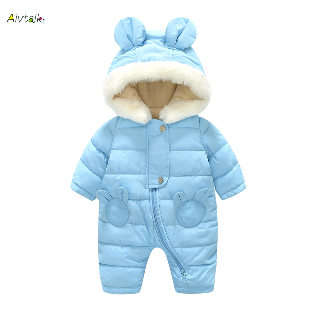 Winter Thick Newborn Baby Rompers Warm Infant Clothes Baby Boys Girls Romper Jumpsuit Kid Hooded Outerwear Snowsuit For 0-12M 2017 lovely newborn baby rompers infant bebes boys girls short sleeve printed baby clothes hooded jumpsuit costume outfit 0 18m