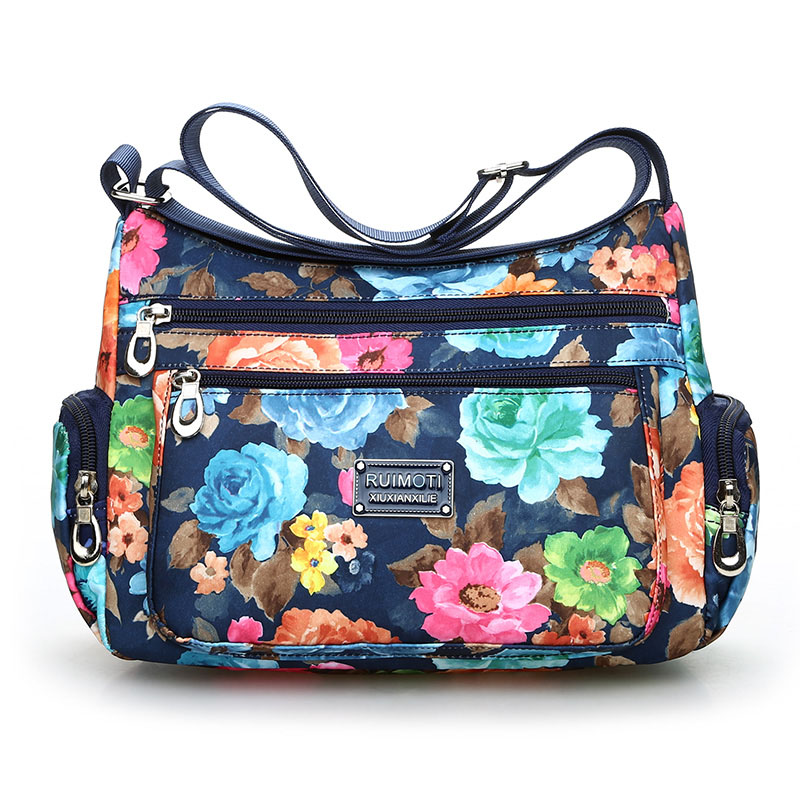 National Floral Pattern Women Crossbody Bag High Quality Waterproof Nylon Shoulder Bag Fashion Multi-pocket Women Messenger Bag 1