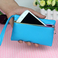 2016 HOT Candy Color  Coin Purses for Phone bag and Wallet PU 16*10CM & Black,Pink,Red,Blue,Yellow,White