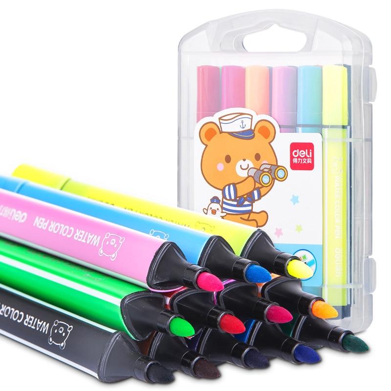 12 Colors Cartoon Triangle Art Marker Pen Set Kawaii Watercolor Washable Fineliner Manga Graffiti Brush Cute Stationery Supplies
