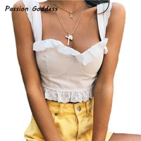 Fashion Ruched Ruffle Cute Tops Zipper Camis Sexy Women White Tops Crops Elegant Camisole Sleeveless Strapless