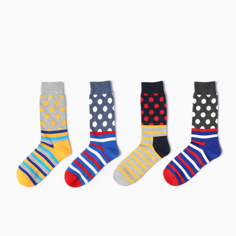6 pairs/bag Men Funny Cartoon Happy Socks crew Fashion dots Pattern Unisex Long Ankle Art Women Cotton Socks Calcetines 2018