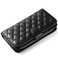 Genuine Sheep Leather Women Wallet Women Purse Five Colors Long Wallet Noble Ladies Wallet Luxurious Clutch Wallet