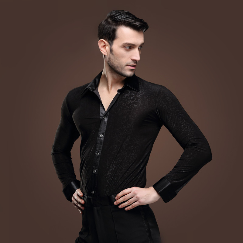 Picture of Man Latin Dance Shirt Adult Black Pattern Modern Dance Costume Chacha Rumba Samba Square Dance Clothes Long Sleeve Shirt Male