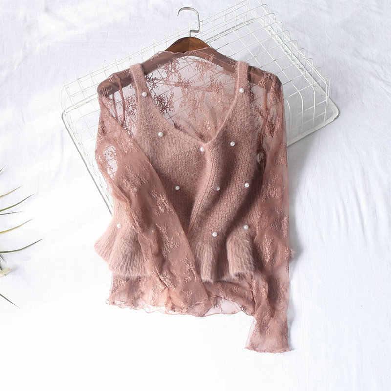 Hisuma Vrouwen Zomer Hollow Out Borduren Kant Bloem Mesh Gaas Basic Ruches Shirt Lady Elastische Slanke Trui Sexy Blouse Tops