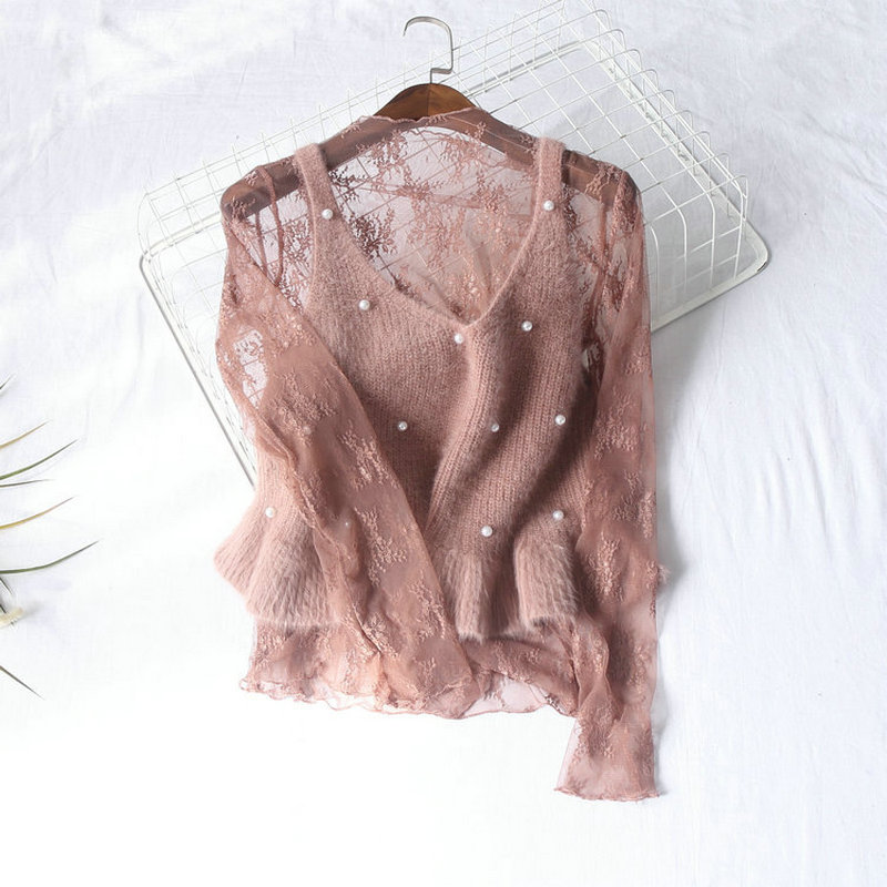 Women Summer Hollow Out Embroidery Lace Flower Basic Ruffles Shirt New Vintage Sexy Elastic Slim High Waist Pullover Blouse Tops
