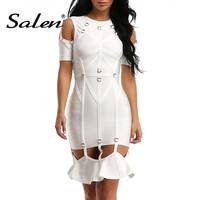 CHIC VITA 2017 Sexy White Hollow Out Rivet Short Sleeve Bandage Women Dress