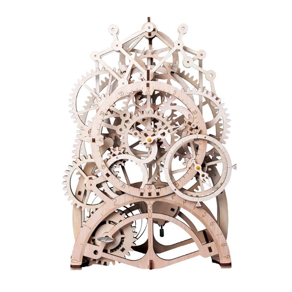 Building Clock Construction Kit ROBOTIME 3d Wooden Puzzle Laser-cut ...