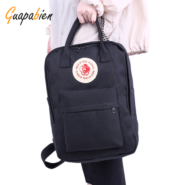 Guapabien Fashion Rectangle Shaped Men Business Laptop Canvas Bag Teenage Women School Travel Backpack Monkey Rucksack