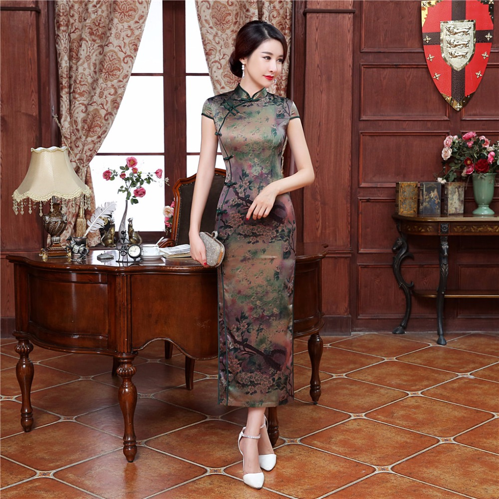 Shanghai Story Woman s Long Cheongsam Qipao Traditional Chinese Dress Short Sleeve Faux Silk Chi Pao