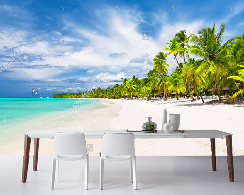 Custom Home Decoration WallpaperCoconut Palm Trees On White Sandy Beachnatural Landscape For Living Room Bedroom Background In Wallpapers From