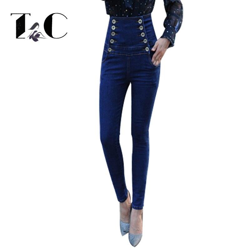 TC Womens High Waist Jeans 2017 Female Skinny Slim Denim Strech Blue Double Breasted Pockets Pencil Pants Plus Size 5XL 6XL 2017 new jeans women spring pants high waist thin slim elastic waist pencil pants fashion denim trousers 3 color plus size