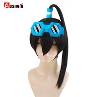 AOSIWIG Red And Black Wigs Long Straight Hair Halloween Costumes Party Synthetic Hair High Temperature Fiber