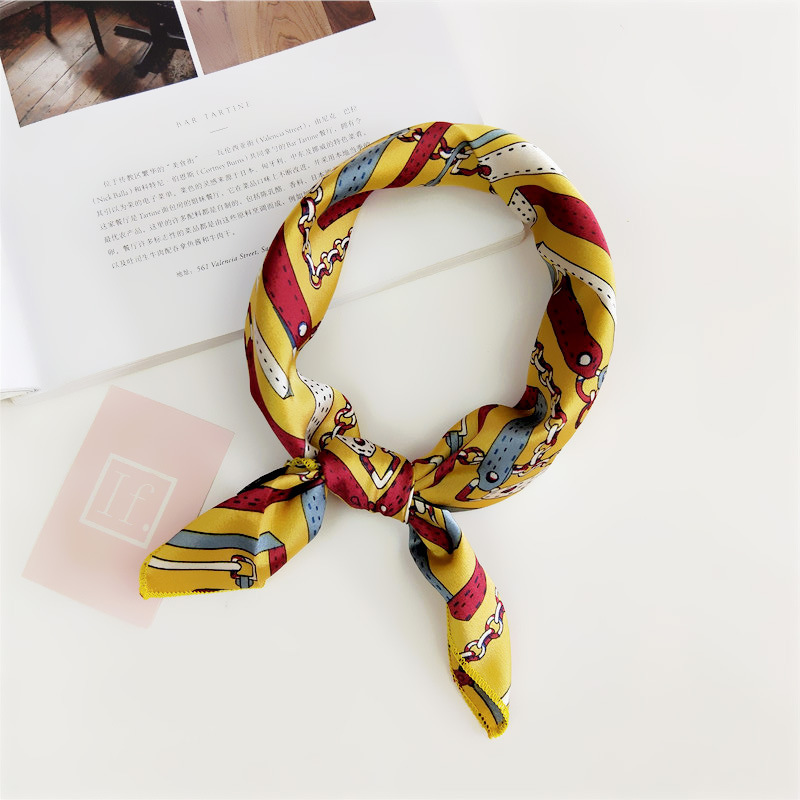 Echarpe Foulard Femme Women Head Scarves Soft Silk Feel Satin Square Neckerchief Scarf Print Floral Bandana Accessories