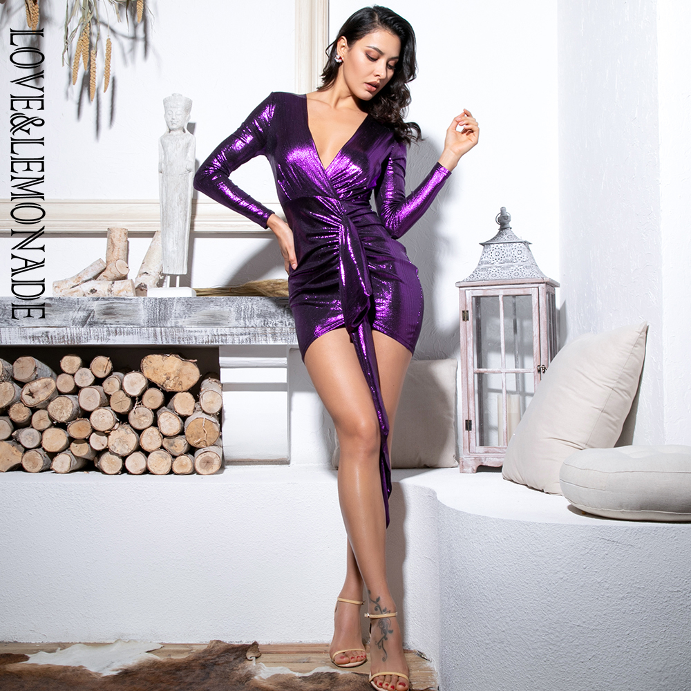Love&Lemonade Sexy Deep V-Neck Pleated Ribbon Decoration Sparkling Fabric Bldycon Going Out Reflective Dress LM81639 Purple