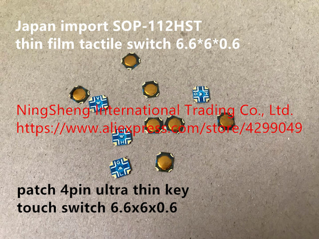 Original new 100% Japan import SOP-112HST thin film tactile switch 6.6*6*0.6 patch 4pin ultra thin key touch switch 6.6x6x0.6