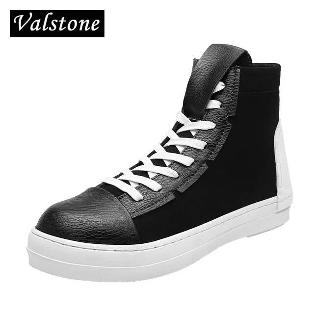 Online Shop Valstone Hip Hop shoes Men leather casual shoes 2018 spring fashion  sneakers white high tops Male black Vulcanized shoes zipper  811a6b862b2d