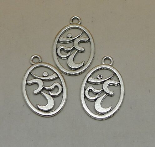 ①  25 шт. OM Подвески  античный тибетский серебряный тон 2-х сторонний символ йоги шарм подвески 22 х 1 ①
