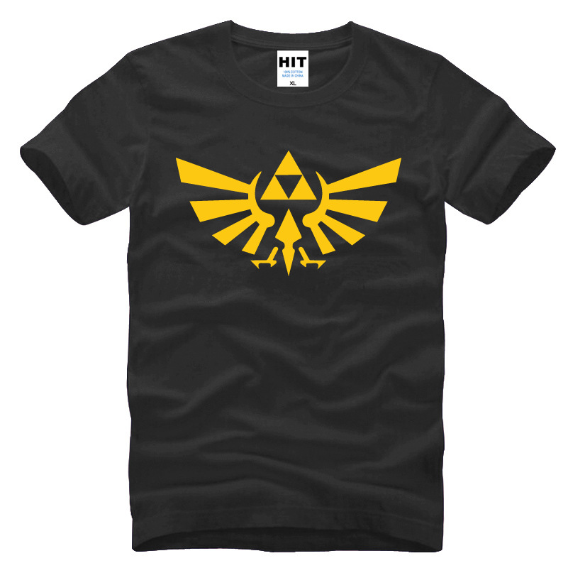 The Legend of ZELDA triforce logo permainan Mens Pria T Shirt Tshirt Mode 2015 Katun Lengan Pendek T-shirt Tee Camisetas Hombre