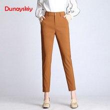 739af33cb20 Dunayskiy женские весенние однотонные с высокой талией длинные брюки  формальные OL Элегантные шаровары для дам на
