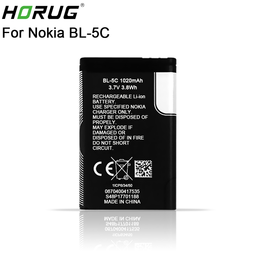 2018 New HORUG 100% Original BL-5C Phone Battery For Nokia BL 5C BL-5C BL5C 1112 1110 6600 N70 N71 N90 Replacement BL 5C Battery