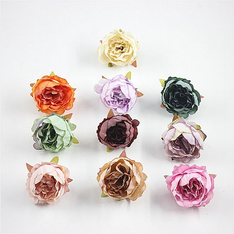 2 PCS/lote 5 cm Alta Qualidade Da Flor Da Cabeca Peonia Decoracao de Casamento Flor De Seda Artificial guirlanda DIY Artesanato