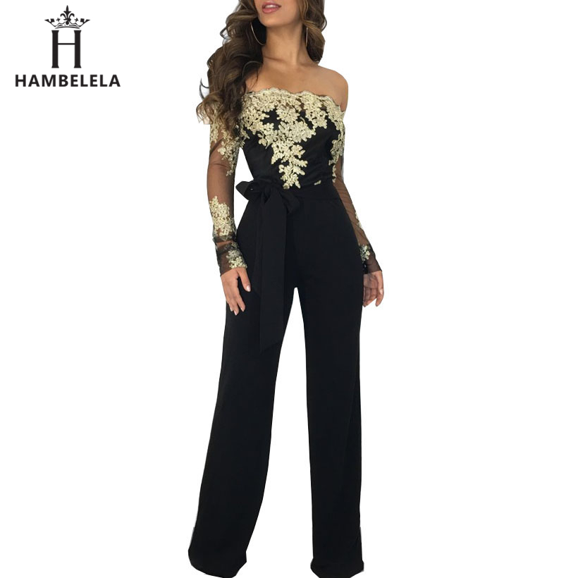 HAMBELELA New Arrival Lace   Jumpsuit   Women Sexy Ladies Elegant One Shoulder Long Sleeve Overalls Femme Rompers Womens   Jumpsuit