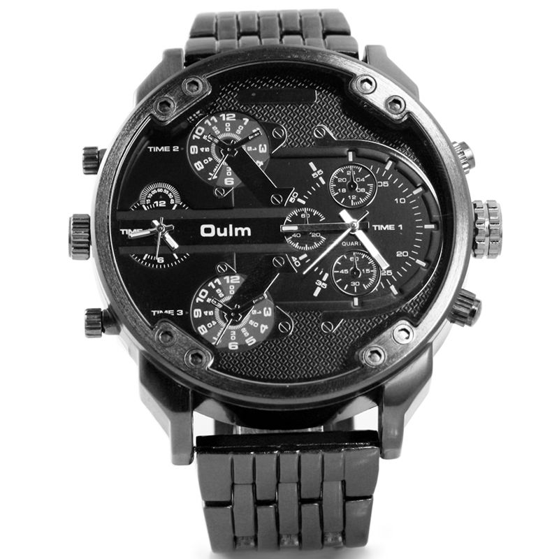 Oulm Luxury Brand DZ Style Men Alloy Metal Watch Army Big Size Dual Time Male Casual Watch Military Wristwatch Relogio Masculino