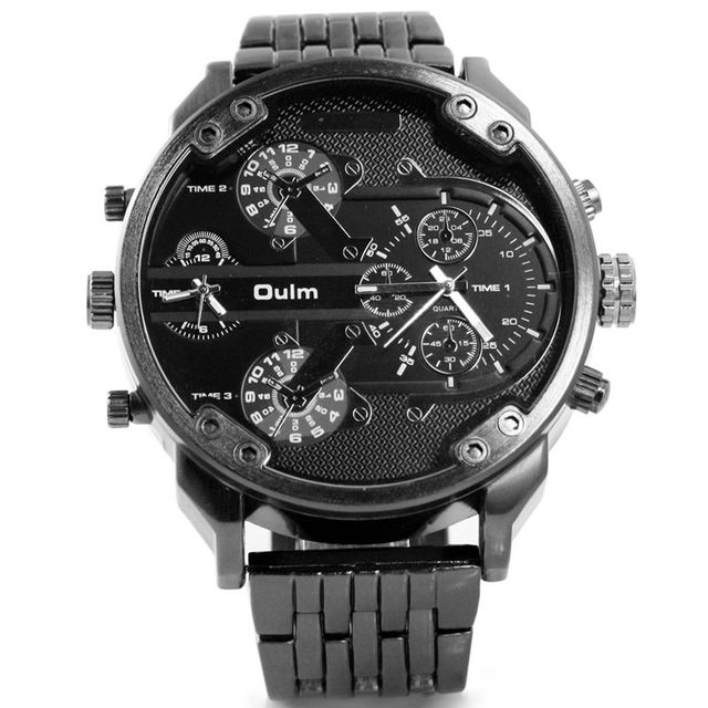 cf9e20e0489 Oulm Luxury Brand DZ Style Men Alloy Metal Watch Army Big Size Dual Time  Male Casual
