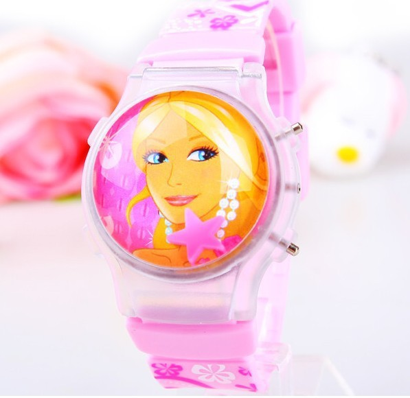 163699 3D Cartoon Princess Watch Fashion Clamshell Children Kids Student Girl Silicone Digital Watches Clock Light - Factory Direct Seller store