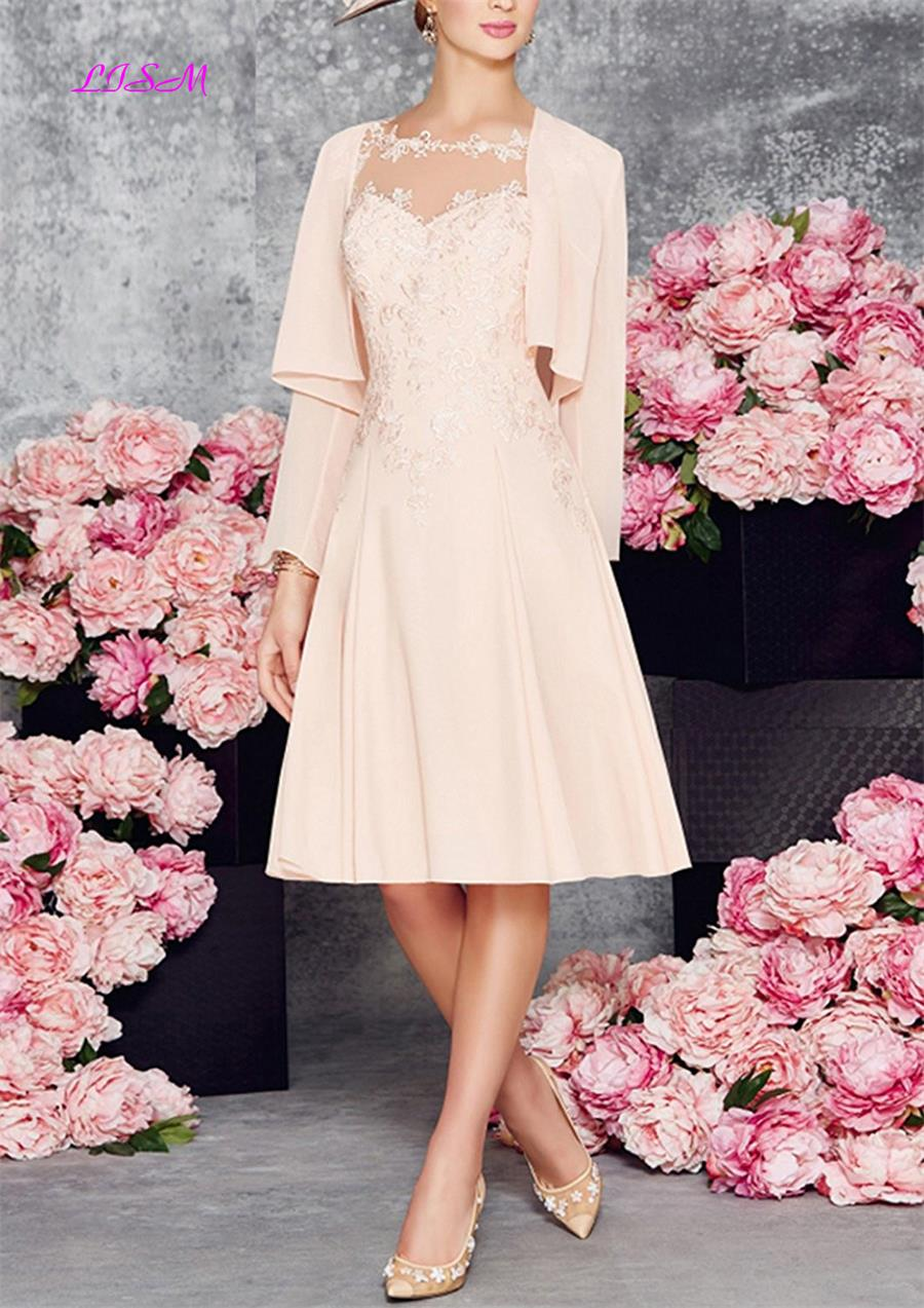 Plus Size Mother Of The Bride Dresses Knee Length Chiffon Mother Of The Groom Dress For Wedding With Jacket Elegant Evening Gown