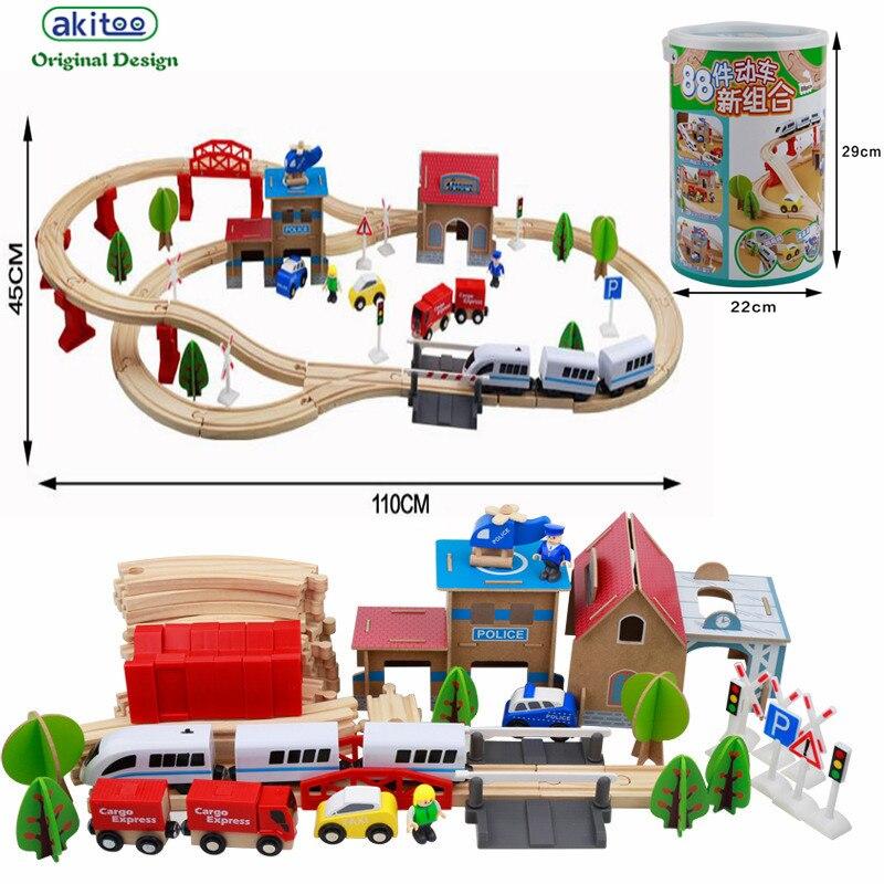 Akitoo 1018 authentique Thomas Train 88 baril piste électrique enfant voiture mâle fille Puzzle jouets éducation précoce jouets cadeau