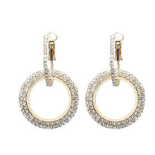New design creative jewelry high-grade elegant crystal za earrings Gold and silver earrings wedding party earrings for woman(China)