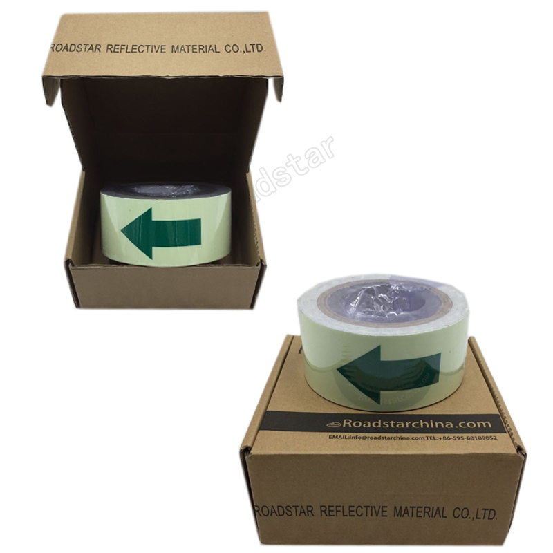 Купить с кэшбэком 5CM X 10M Hot sell 5cm width glow in the dark tape lasting 4 hours wiht arrow printing for safety guiding