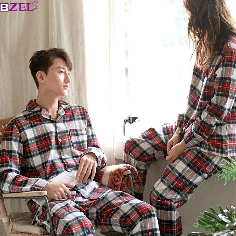 Women's Winter Suits Couple Plaid Pyjama Set  Women Pajamas Cotton Long Sleeve Pijamas Ladies Casual Sleepwear Big Size M-XXL