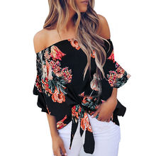 MUQGEW blouse mode vrouw blouses 2019 Zomer Off Shoulder Stropdas Knoop Bloemenprint Tops Casual Shirts Blouse blusas mujer de mod(China)