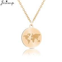 Jisensp mapa del mundo Vintage, collar de mujer 2019 redondo círculo mapa collares y pendientes para mujer de moda de los hombres de regalo de la joyería