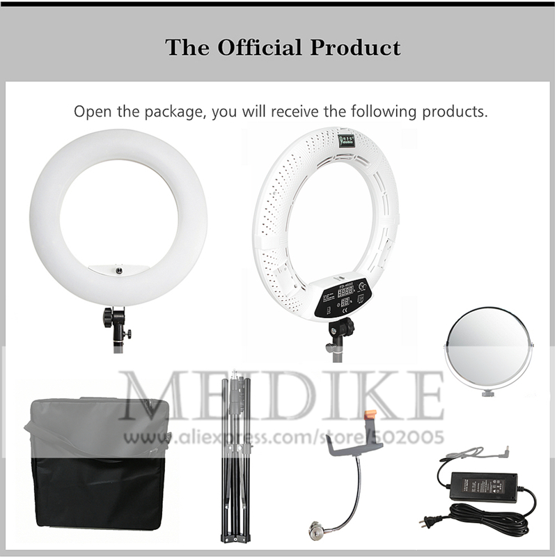 Yidoblo Warm & white kleur FD 480II Pro Beauty Studio LED Ring lamp 480 LEDS Video Licht Lamp Make Verlichting + stand (2 M) + tas - 4