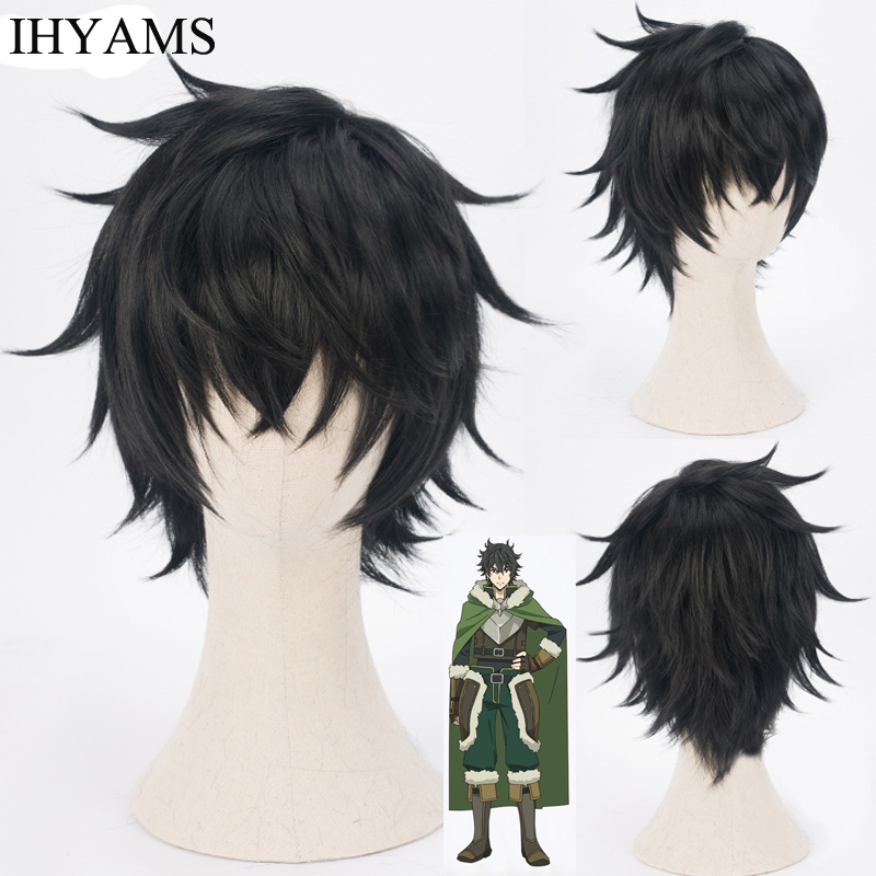 Tate No Yuusha No Nariagari Naofumi Iwatani Cosplay Wigs 30cm Short Black Synthetic Hair Perucas Anime Wig + Wig Cap