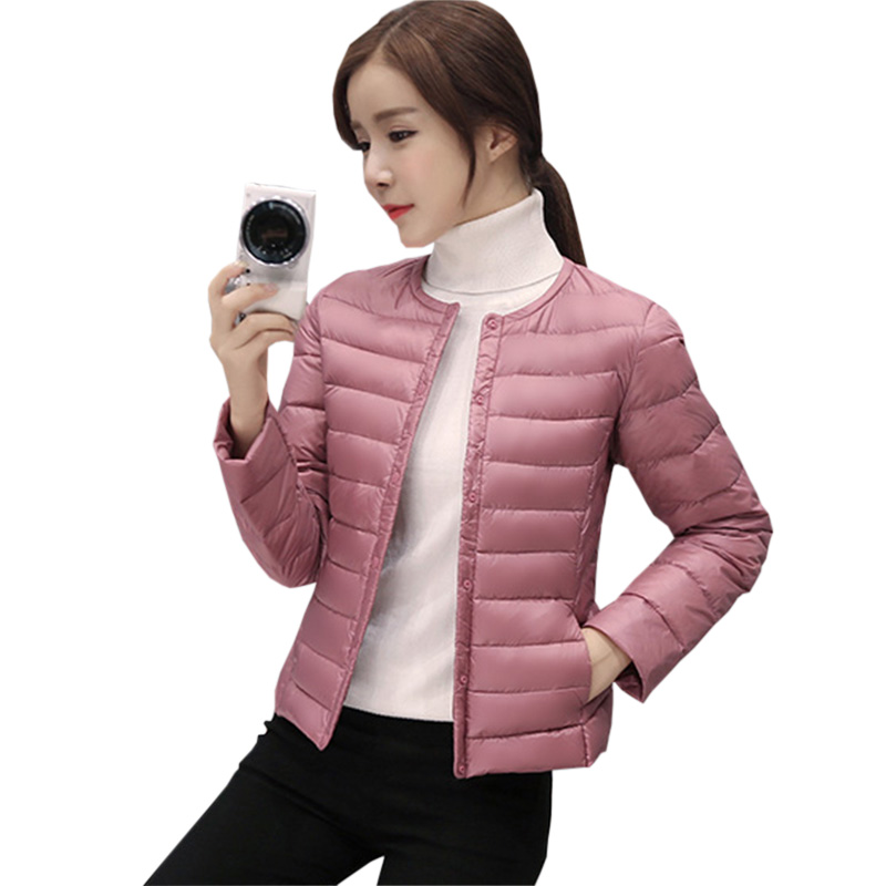 Women New White Duck   Down     Coats   Ultra Light O-neck Slim Short Outwear Jackets Spring Winter Female Light Thin   Down     Coat   RE0358