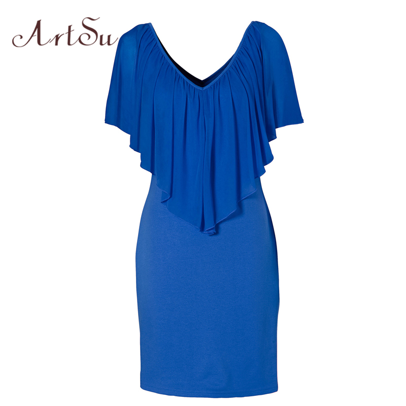 ArtSu Summer Sexy Club Party Dresses Women Clothing 2017 New Style Blue Round Neck Sleeveless Ruffle Chiffon Short Dress DR50128