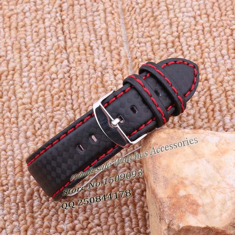 Hot selling Red stitch thread Fashion stylish Carbon fiber pattern watch band straps 18mm 20mm 22mm 24mm for brand watches menHot selling Red stitch thread Fashion stylish Carbon fiber pattern watch band straps 18mm 20mm 22mm 24mm for brand watches men