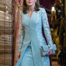 Элегантные платья для матери невесты, костюмы, короткие, из двух частей, синие, с длинным рукавом, для жениха, для мамы, платье для свадьбы, кружевное, британское, арабское