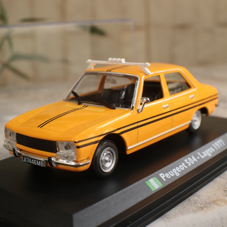High simulation Nigeria taxis,<font><b>peugeot</b></font> 504-Lagos 1977,<font><b>1</b></font>:<font><b>43</b></font> alloy <font><b>car</b></font> <font><b>models</b></font>,original packaging gift box <font><b>model</b></font> <font><b>cars</b></font> image