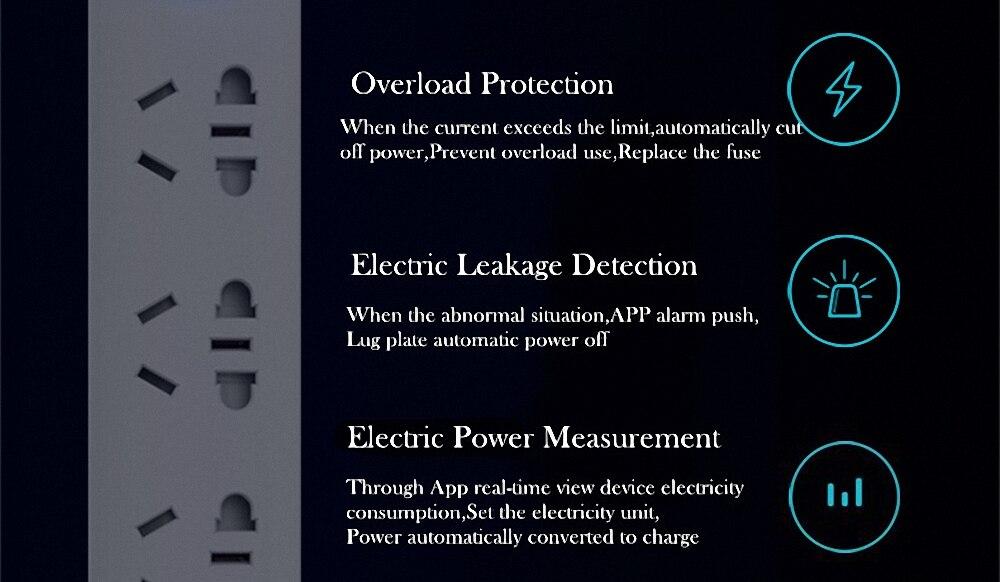 Original Xiaomi Qingmi Smart Home Power Strip 35 Ports 3 USB Fast Charging5 Jacks Extension Socket Plug WiFi Mijia APP Remote (18)