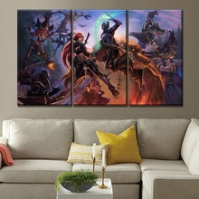 Modern Wall Artwork Home Decor Living Room One Set Modular Style 3 Panel League Of Legends Hero Duel Canvas Print Game Poster