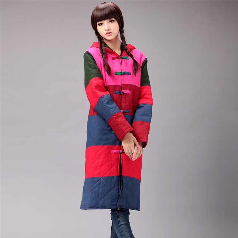 BOHOCHIC Original Hoodies Vintage Ethnic Chinese Frog Loosen Cotton Parka Spliced Plus Size Winter Women Clothing AS0010D Boho